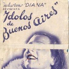 Cine: PG - PROGRAMA DOBLE - IDOLOS DE BUENOS AIRES - ADA FALCÓN, OLINDA BOZAN - CENTRAL CINEMA (BARCELONA). Lote 285198993