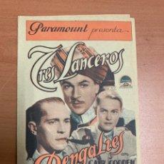 """Folhetos de mão de filmes antigos de cinema: FOLLETO DE CINE ANTIGUO """"TRES LANCEROS BENGALÍES """".P. DOBLE. BÉLICAS.1937.. Lote 285210108"""