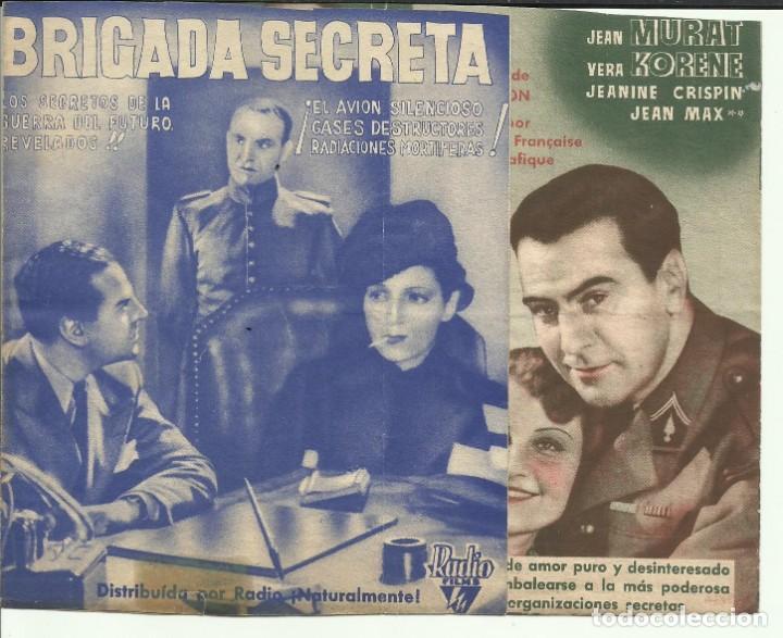 PTCC 067 BRIGADA SECRETA PROGRAMA DOBLE RKO JEAN MURAT VERA KORENE VIVIANE ROMANCE (Cine - Folletos de Mano - Bélicas)