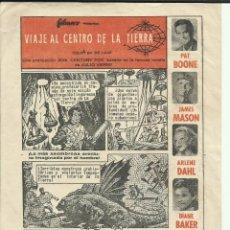 Cine: PTCC 069 VIAJE AL CENTRO DE LA TIERRA PROGRAMA SENCILLO AUCA COMIC FILMAX JAMES MASON JULIO VERNE. Lote 285480453