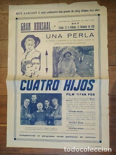 PTCC 069 CUATRO HIJOS PROGRAMA GRANDE LOCAL FOX JOHN FORD JOHN WAYNE JAMES HALL (Cine - Folletos de Mano - Bélicas)