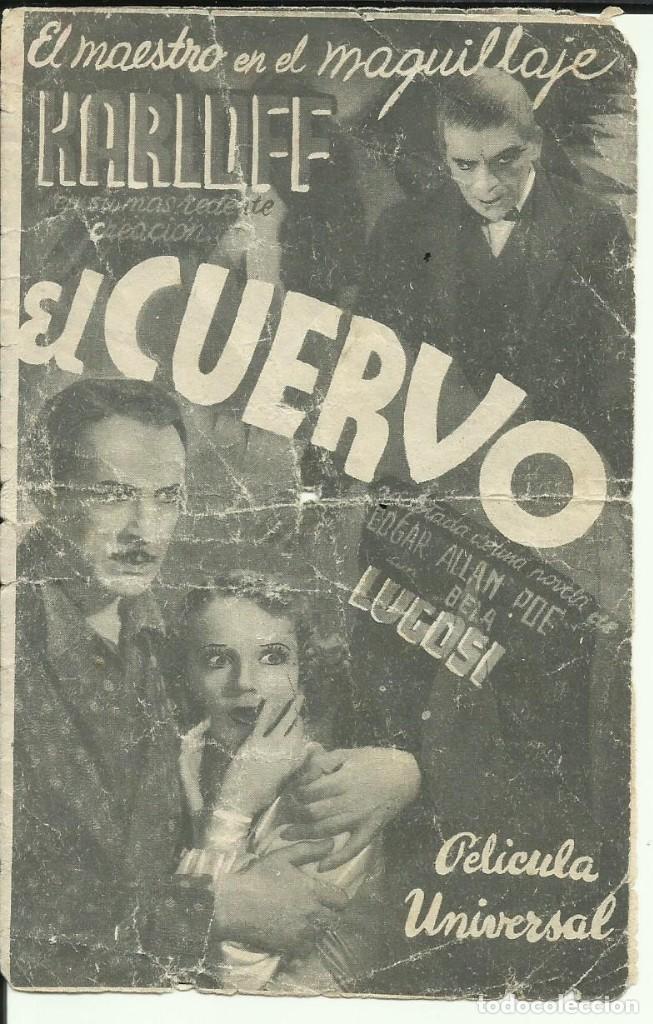 PTCC 069 EL CUERVO PROGRAMA DOBLE UNIVERSAL BORIS KARLOFF BELA LUGOSI EDGAR ALLAN POE (Cine - Folletos de Mano - Terror)