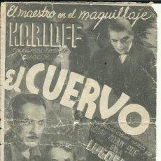 Cine: PTCC 069 EL CUERVO PROGRAMA DOBLE UNIVERSAL BORIS KARLOFF BELA LUGOSI EDGAR ALLAN POE. Lote 285490868
