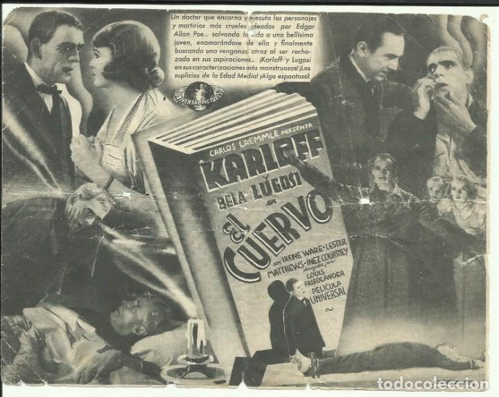 Cine: PTCC 069 EL CUERVO PROGRAMA DOBLE UNIVERSAL BORIS KARLOFF BELA LUGOSI EDGAR ALLAN POE - Foto 2 - 285490868