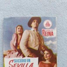 Folhetos de mão de filmes antigos de cinema: SUCEDIÓ EN SEVILLA. JUANITA REINA, MARÍA PIAZZAI, RUBÉN ROJO, JUAN JOSÉ MENÉNDEZ, JULIA CABA ALBA. Lote 285759543