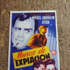 Folhetos de mão de filmes antigos de cinema: FOLLETO DE MANO DE LA PELICULA MUROS DE EXPIACION CON PUBLICIDAD. Lote 286057108