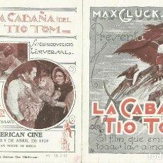 Cine: PTCC 070 LA CABAÑA DEL TIO TOM PROGRAMA DOBLE URUGUAYO JAMES B LOWE MARGARITA FISCHER CINE MUDO. Lote 286206113