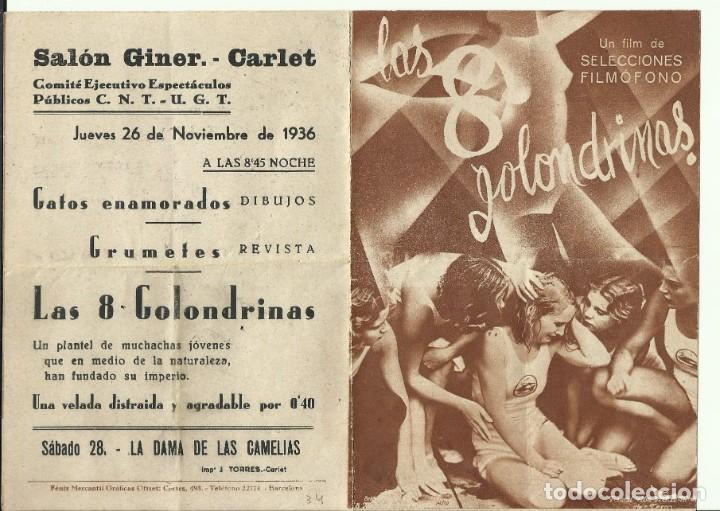 PTCC 071 LAS 8 GOLONDRINAS PROGRAMA DOBLE FILMOFONO KARIN HARDT THEODOR LOOS CNT UGT NOV 1936 (Cine - Folletos de Mano - Deportes)