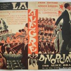 Cine: LA ALEGRE DIVORCIADA, CON FRED ASTAIRE. 16,5 X 22,5 CMS.. Lote 286226403