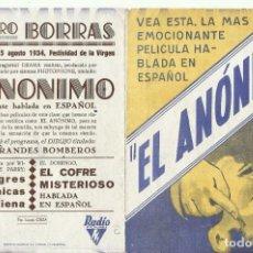 Cine: PTCC 081 EL ANONIMO PROGRAMA DOBLE RKO SICE GLORIA ITURBE CARLOS ORELLANA JULIO VILLARREAL. Lote 286385513
