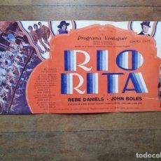 Cine: PTCC 073 RIO RITA PROGRAMA TRIPLE CINAES VERDAGUER BEBE DANIELS JOHN BOLES DON ALVARADO. Lote 286564103