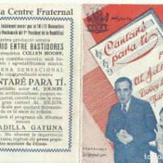 Foglietti di film di film antichi di cinema: PTCC 081 CANTARE PARA TI PROGRAMA DOBLE CINAES AL JOLSON MARIAN NIXON. Lote 286567378