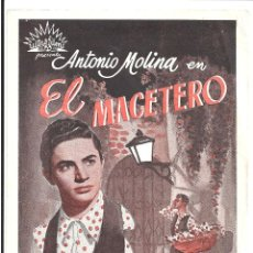 Folhetos de mão de filmes antigos de cinema: PTCC 065 EL MACETERO PROGRAMA SENCILLO CANCIONERO ULTRA FILMS ANTONIO MOLINA RARO. Lote 286617868