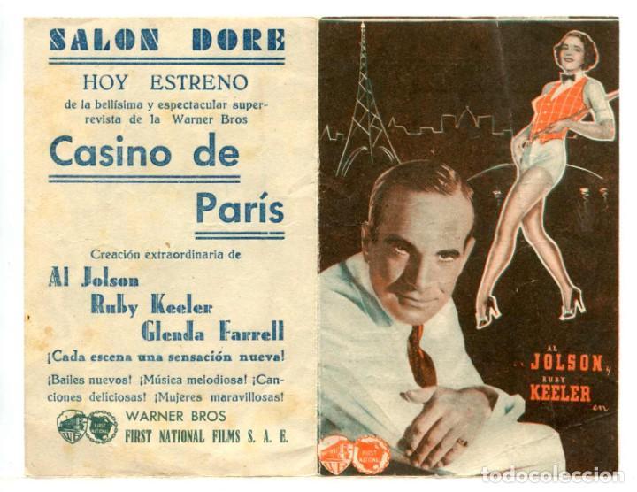 CASINO DE PARIS, CON AL JOLSON. (Cine - Folletos de Mano - Musicales)