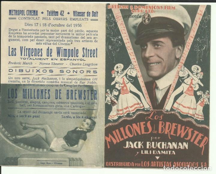 PTCC 074 LOS MILLONES DE BREWSTER PROGRAMA DOBLE ARTISTAS ASOCIADOS JACK BUCHANAN LILI DAMITA (Cine - Folletos de Mano - Comedia)