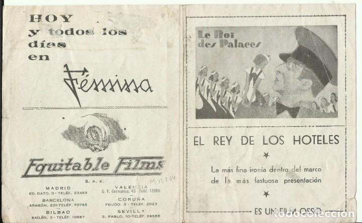 PTCC 074 EL REY DE LOS HOTELES PROGRAMA DOBLE EQUITABLE FILMS JULES BERRY (Cine - Folletos de Mano - Comedia)