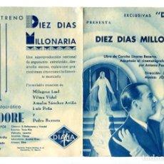 Folhetos de mão de filmes antigos de cinema: DIEZ DÍAS MILLONARIA, DE JOSÉ BUCHS.. Lote 286860233