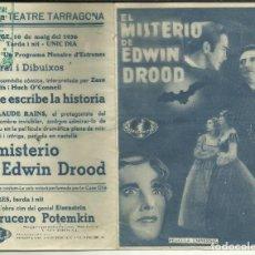 Cine: PTCC 082 EL MISTERIO DE EDWIN DROOD PROGRAMA DOBLE UNIVERSAL CLAUDE RAINS HEATHER ANGEL. Lote 286889573
