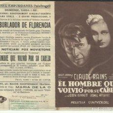 Cine: PTCC 082 EL HOMBRE QUE VOLVIO POR SU CABEZA PROGRAMA DOBLE UNIVERSAL CLAUDE RAINS JOAN BENNETT. Lote 286892098
