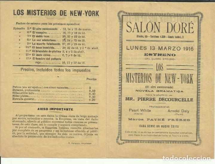 PTCC 082 LOS MISTERIOS DE NEW YORK PROGRAMA DOBLE PEARL WHITE SERIAL JORNADAS 1916 CINE MUDO (Cine - Folletos de Mano - Terror)