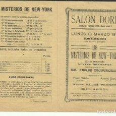 Cine: PTCC 082 LOS MISTERIOS DE NEW YORK PROGRAMA DOBLE PEARL WHITE SERIAL JORNADAS 1916 CINE MUDO. Lote 286893098