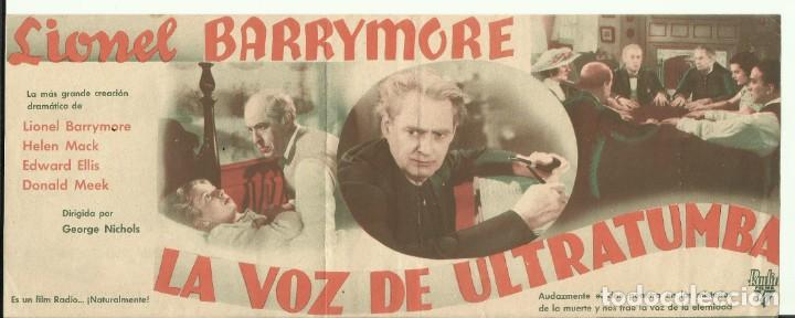 PTCC 082 LA VOZ DE ULTRATUMBA PROGRAMA DOBLE RKO LIONEL BARRYMORE HELEN MACK (Cine - Folletos de Mano - Terror)