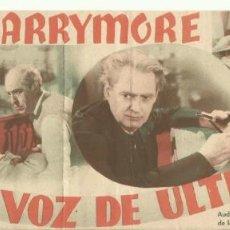 Cine: PTCC 082 LA VOZ DE ULTRATUMBA PROGRAMA DOBLE RKO LIONEL BARRYMORE HELEN MACK. Lote 286893323