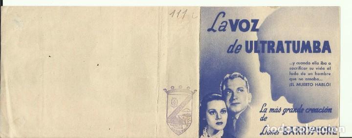 Cine: PTCC 082 LA VOZ DE ULTRATUMBA PROGRAMA DOBLE RKO LIONEL BARRYMORE HELEN MACK - Foto 2 - 286893323