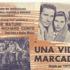 Cine: PTCC 082 UNA VIDA MARCADA PROGRAMA DOBLE RICHARD CONTE VICTOR MATURE DEBRA PAGET. Lote 286894918