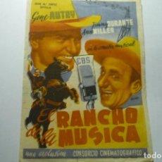 Cine: PROGRAMA EL RANCHO DE LA MUSICA.- GENE AUTRY. Lote 286908468