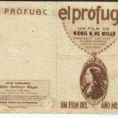 Cine: PTCC 074 EL PROFUGO PROGRAMA DOBLE MGM WARNER BAXTER LUPE VELEZ LILIAN BOND. Lote 286909403