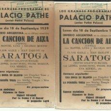 Cine: PTCC 075 SARATOGA 2 PROGRAMAS TARJETAS MGM CLARK GABLE JEAN HARLOW RARO VER PROGRAMAS DE ESTA PELI. Lote 286912063