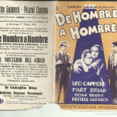 Folhetos de mão de filmes antigos de cinema: PTCC 075 DE HOMBRE A HOMBRE PROGRAMA DOBLE UNIVERSAL LEO CARRILLO MARY BRIAN GEORGE BRENT NOAH BEERY. Lote 286912328