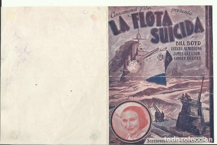 PTCC 075 LA FLOTA SUICIDA PROGRAMA DOBLE CINNAMOND WILLIAM BOYD ROBERT ARMSTRONG GINGER ROGERS (Cine - Folletos de Mano - Bélicas)