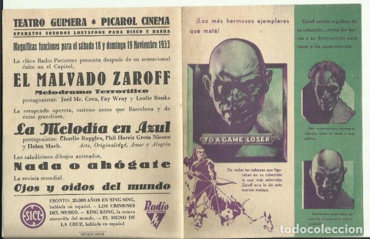 PTCC 082 EL MALVADO ZAROFF PROGRAMA DOBLE RKO TERROR JOEL MCCREA FAY WRAY LON CHANEY JR. (Cine - Folletos de Mano - Terror)