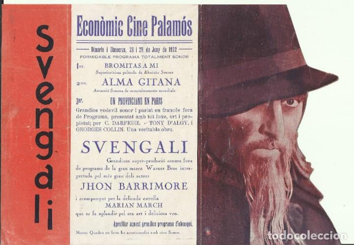 PTCC 082 SVENGALI PROGRAMA DOBLE TROQUELADO ALMIRA JOHN BARRYMORE MARIAN MARSH DONALD CRISP (Cine - Folletos de Mano - Terror)