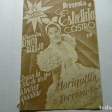Cine: PROGRAMA DOBLE MARIQUILLA TERREMOTO - ESTRELLITA CASTRO. Lote 286957898