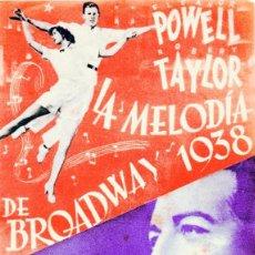 Cine: M144 LA MELODIA DE BROADWAY 1938 PROGRAMA DOBLE MGM ROBERT TAYLOR ELEANOR POWELL JUDY GARLAND. Lote 286969308