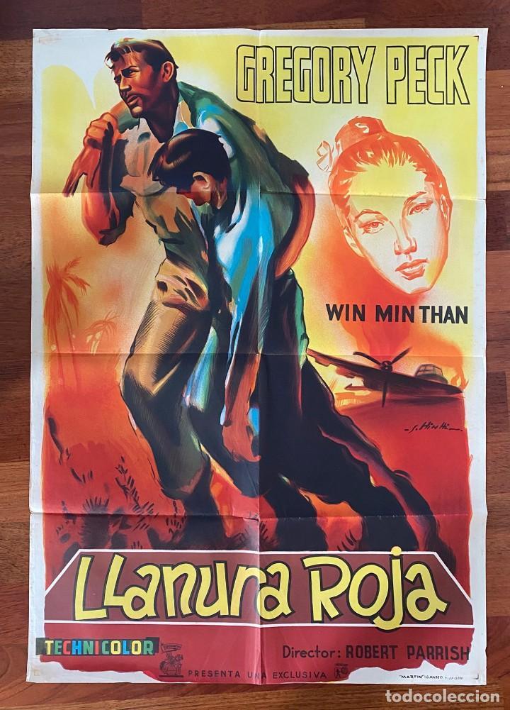 LLANURA ROJA, CARTEL LITOGRÁFICO 1954. GREGORY PECK (Cine - Folletos de Mano - Bélicas)