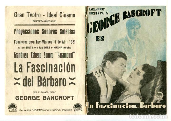 LA FASCINACIÓN DEL BARBERO, CON GEORGE BANCROFT. (Cine - Folletos de Mano - Documentales)