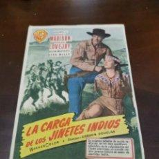 Folhetos de mão de filmes antigos de cinema: PROGRAMA DE MANO ORIG - LA CARGA DE LOS JINETES INDIOS - CON CINE DE ALGEMESI IMPRESO AL DORSO. Lote 287066413