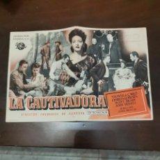 Folhetos de mão de filmes antigos de cinema: PROGRAMA DE MANO ORIG - LA CAUTIVADORA - CON CINE GOYA IMPRESO AL DORSO. Lote 287066973