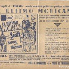 Cine: PTCC 082 EL ULTIMO MOHICANO PROGRAMA SENCILLO LOCAL RANDOLPH SCOTT BINNIE BARNES. Lote 287134128