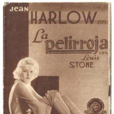 Cine: PTEB 068 LA PELIRROJA PROGRAMA DOBLE MGM JEAN HARLOW CHESTER MORRIS. Lote 287140983