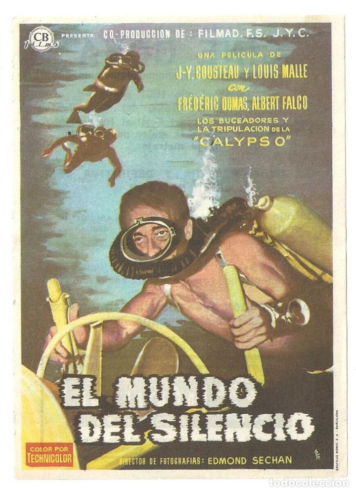PTEB 068 EL MUNDO DEL SILENCIO PROGRAMA SENCILLO CB FILMS JACQUES YVES COUSTEAU SUBMARINISMO (Cine - Folletos de Mano - Documentales)