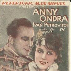 Cine: PTCC 075 PAJAROS DE NOCHE PROGRAMA DOBLE REPERTORIO M. DE MIGUEL ANNY ONDRA. Lote 287182063