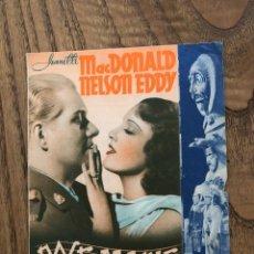 Cine: ROSE MARIE, DOBLE.CINEMA FOMENT NACIONALISTA D´ERC. AÑO 1938. Lote 287203418