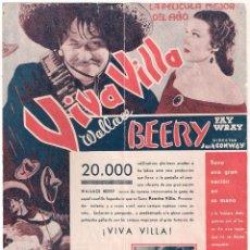 Cine: PTEB 069 VIVA VILLA PROGRAMA DOBLE MGM WALLACE BEERY FAY WRAY. Lote 287367718