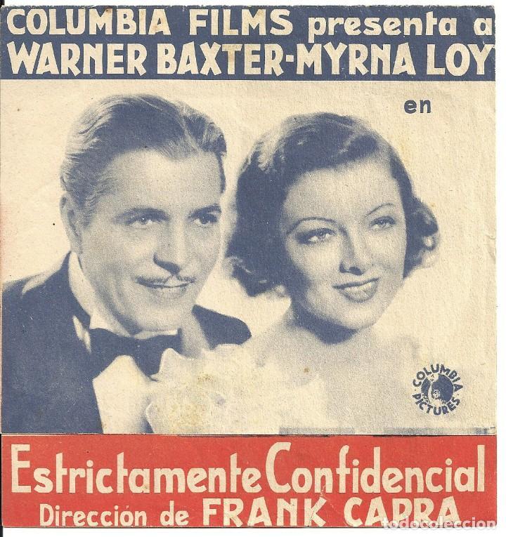 PTEB 069 ESTRICTAMENTE CONFIDENCIAL PROGRAMA DOBLE COLUMBIA MYRNA LOY WARNER BAXTER FRANK CAPRA (Cine - Folletos de Mano - Comedia)