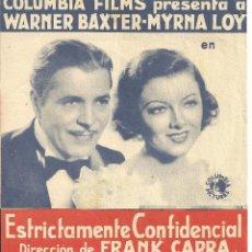 Cine: PTEB 069 ESTRICTAMENTE CONFIDENCIAL PROGRAMA DOBLE COLUMBIA MYRNA LOY WARNER BAXTER FRANK CAPRA. Lote 287378553